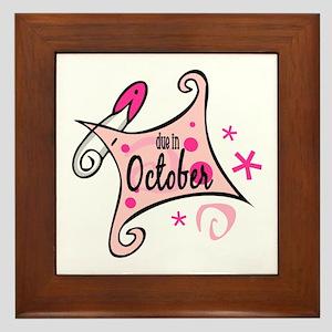 Due in October [pink] Framed Tile